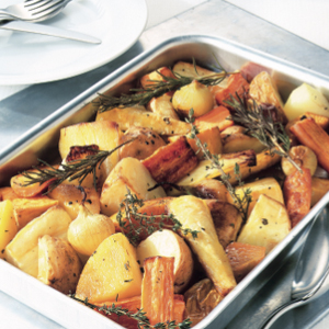 Roast root vegetables with herbs