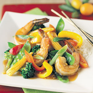 Seafood and vegetable stir-fry