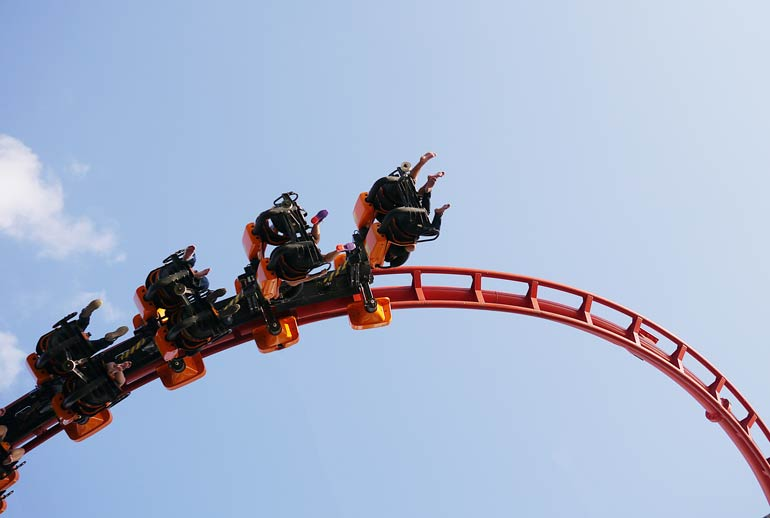 2. The stomach-in-your-throat feeling on roller coasters