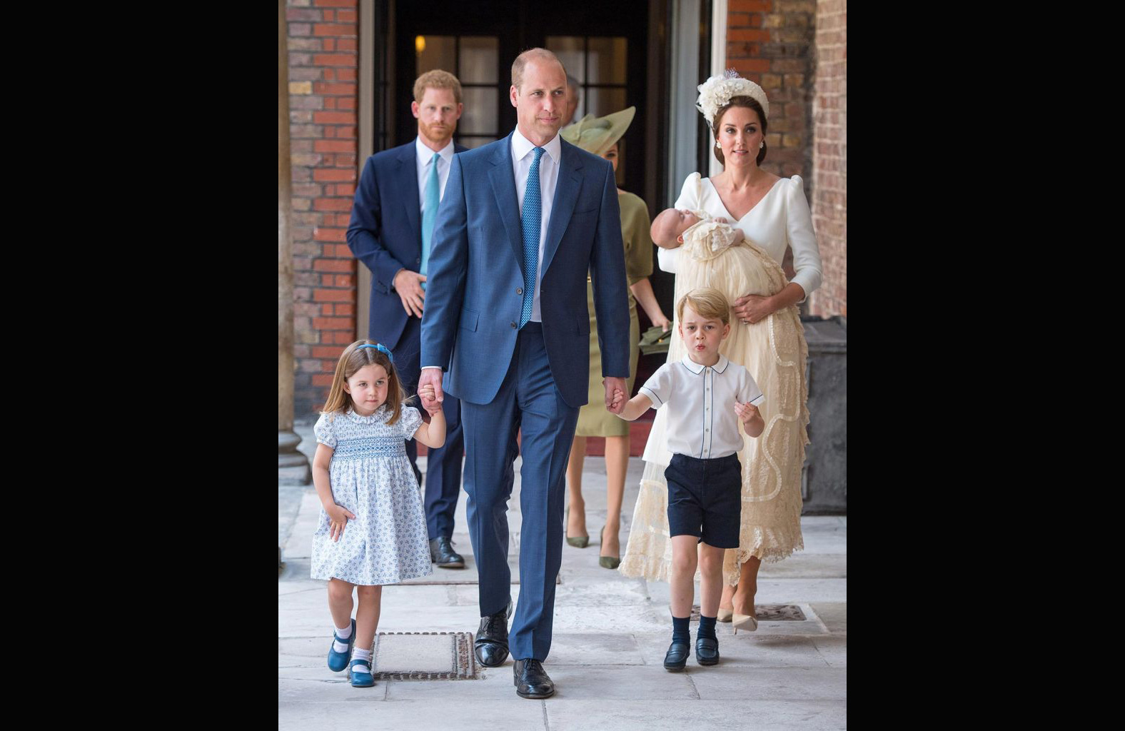 Arriving for Louis's christening