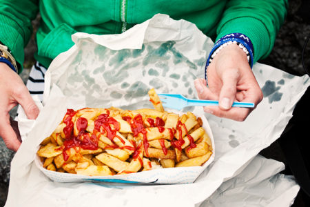 junk food, not chips and tomato sauce