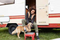 loyal dog with owner outside a caravan